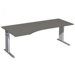 Schreibtisch PREMIUM höhenverstellbar, links, Graphit/Silber, BxTxH 2000x800/1000x680-820 mm