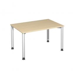 Schreibtisch Komfort, Gestell silber, Dekor Ahorn, BxTxH 1200x800x720 mm