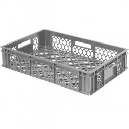 Bäckerkiste, LxBxH 600 x 400 x 130 mm, Wände und Boden durchbrochen, Gewicht 1,40 kg, grau