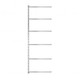 Fachboden-Steck-Anbauregal mit 6 Fachböden, glanzverzinkt, HxBxT 3000x1035x315 mm