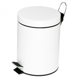 Tret-Abfalleimer, Inhalt 20 Liter, weiß, HxØ 455x295 mm, Deckelöffnung mit Pedalmechanik