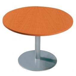 Konferenztisch mit Säulenfuß, alusilber, Platte Kirsche, Ø 1000 mm, Höhe 720 mm