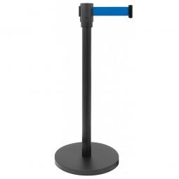 Personenleitsystem, Ständer ØxH 360/50x915 mm, Gurt BxH 1800x47 mm, Ständer schwarz/Gurt blau