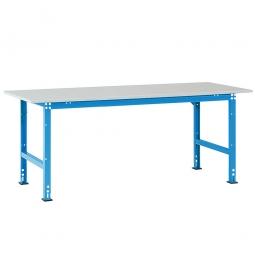Pack- und Beistelltisch, Tragkraft 700 kg, BxTxH 2000x800x760-870 mm, lichtblau RAL 5012