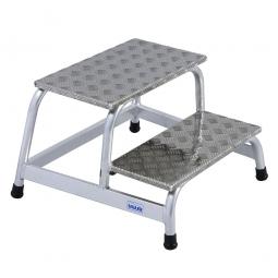Aluminium-Montagetritt, mit 2 Stufen, Standhöhe 400 mm, Arbeitshöhe bis 2400 mm, Gewicht 6 kg