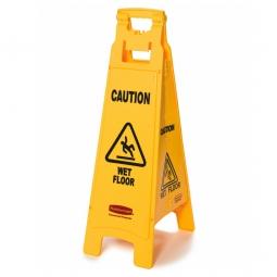 "Warnschild 4-seitig, mehrsprachig,""WET FLOOR"",gelb, BxH 305x965 mm, Polypropylen (PP)"