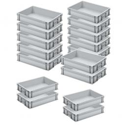 12x Euro-Stapelbehälter + 4 Behälter GRATIS, Farbe grau, LxBxH 600 x 400 x 120 mm