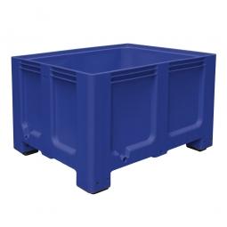 Großbox / Großbehälter mit 4 Füßen, 610 Liter, LxBxH 1200 x 1000 x 760 mm, Boden/Wände geschlossen, blau
