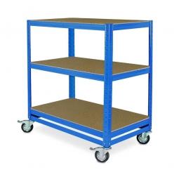 Kommissionierwagen/Etagenwagen mit 3 Ebenen, LxBxH 900x500x900 mm, blau, Tragkraft 200 kg