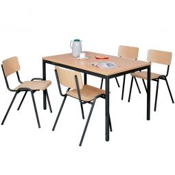 Mehrzweck-Sitzgruppe, 4 Stahlrohr-Stühle + 1 Kantinentisch, LxBxH 1600 x 800 x 750 mm, Dekor Buche / schwarz
