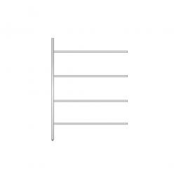 Aluminium-Anbauregal mit 4 Gitterböden, Stecksystem, BxTxH 1475x500x2000 mm, Nutztiefe 480 mm