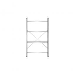 Edelstahl-Steck-Grundregal, HxBxT 1800 x 1000 x 300 mm, mit 4 Regalböden T: 250 mm