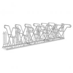 Anlehnparker, L 3240 mm, verzinkt, Einstellplatz für 12 Fahrräder, zweiseitige Nutzung