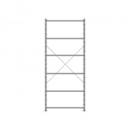Fachbodenregal Economy mit 6 Böden, Stecksystem, BxTxH 1060 x 435 x 2500 mm, Tragkraft 70 kg/Boden, kunststoffbeschichtet