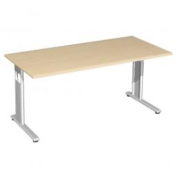 Schreibtisch ELEGANCE höhenverstellbar, Dekor Ahorn, Gestell Silber, BxTxH 1600x800x680-820 mm