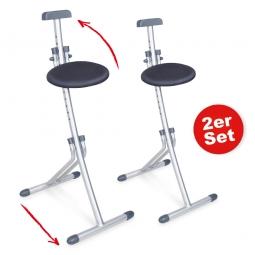 Stehhilfen-Set, Stoffbezug grau, Sitzhöhe verstellbar von 450 - 850 mm