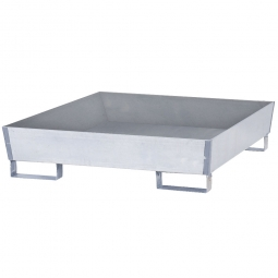 Auffangwanne aus Stahlblech, verzinkt, für 4x 200 Liter-Fässer, ohne Gitterrost
