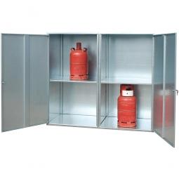 Gasflaschen-Schrank, geschlossene Ausführung, LxBxH 1680x690x1475 mm, für 20 Gasflaschen á 11 kg