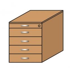 Standcontainer, 5 Schubladen, Buche, BxTxH 435x800x680-740 mm