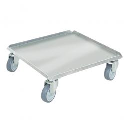 Alu-Transportroller für Spülkörbe 500 x 500 mm, graue Gummiräder, Deck geschlossen, Tragkraft 250 kg