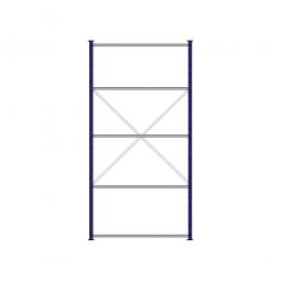 Fachbodenregal Flex mit 5 Fachböden, Stecksystem, kunststoffbeschichtet, BxTxH 1270 x 415 x 2500 mm, Tragkraft 150 kg/Boden