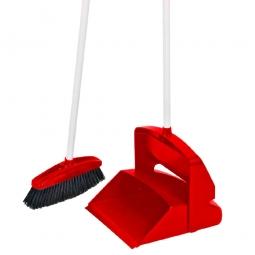 Standschaufel mit Besen, rot, BxTxH 260x250x1000 mm, Besen BxH 170x955 mm