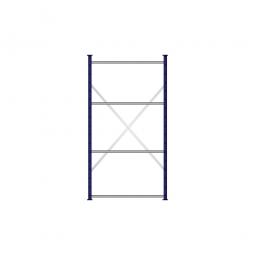 Fachbodenregal Flex mit 4 Fachböden, Stecksystem, kunststoffbeschichtet, BxTxH 1070 x 415 x 2000 mm, Tragkraft 100 kg/Boden