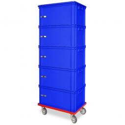 Archiv-Ordnerturm mit Roller, 5 Behälter in blau