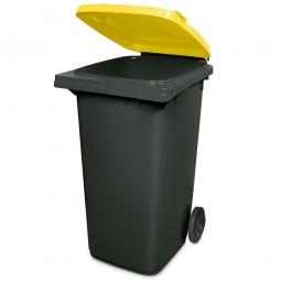 240 Liter MGB, Müllbehälter in anthrazit mit gelbem Deckel