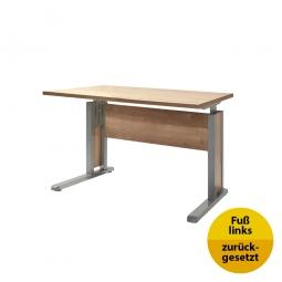Verkettungs-Schreibtisch, Gestell silber, Platte Wildeiche, BxTxH 800x800x680-820 mm