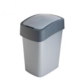 Abfallbehälter mit Schwing- oder Klappdeckel, PP, HxBxT 470x260x340 mm, Inhalt 25 Liter, silber/anthrazit