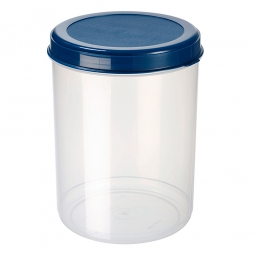 Lebensmitteldose, 5 Liter, ØxH 180x250 mm, Dose glasklar, Deckel blau