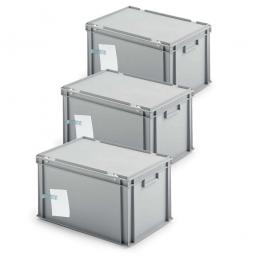 3x Ordner-Archivboxen, für je 7 Ordner (A4, breiter Rücken), inkl. Edelstahl-Zettelklemmer, staubsicher, grau