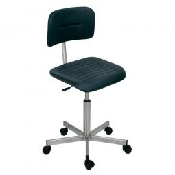 Edelstahl-Arbeitsdrehstuhl auf Rollen, Sitz- u. Rückenlehne aus Polyurethanschaum, schwarz