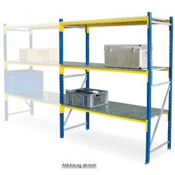 Weitspannregal mit 3 Stahlblechebenen, Stecksystem, BxTxH 3080 x 605 x 2000 mm, Tragkraft 775 kg/Ebene