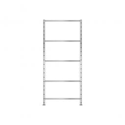 Fachbodenregal Flex mit 5 Fachböden, Stecksystem, glanzverzinkt, BxTxH 1010 x 510 x 2400 mm