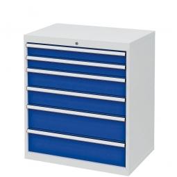 System-Schubladenschrank mit 6 Schubalden, BxTxH 900x575x1020 mm, lichtgrau/enzianblau