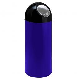 Push-Abfallbehälter, Inhalt 55 Liter, blau, HxØ 820x310 mm, Stahlblech, Einwurföffnung Ø 160 mm