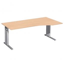 Schreibtisch PREMIUM höhenverstellbar, rechts, Buche/Silber, BxTxH 1800x800/1000x680-820 mm