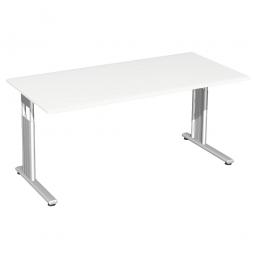 Schreibtisch ELEGANCE feste Höhe, Dekor Weiß, Gestell Silber, BxTxH 1800x800x720 mm