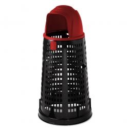 Korb-Abfallsammler mit Klapp-Einwurfhaube rot, mit Klemmring für 120 Liter Säcke, Ø380/535 mm, Höhe 1070 mm