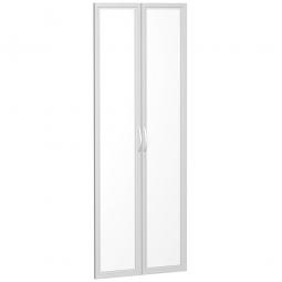 Flügeltür FLEX, Ordnerhöhen, mit Glasausschnitt, Breite 800 mm, mit Metallscharnieren und Türdämpfern