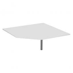 Verkettungsplatte ELEGANCE Fünfeck mit Stützfuß, Dekor Lichtgrau, Gestell Silber,BxTxH 1225x1225x680-820 mm
