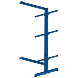 Kragarmregal / Anbauregal, doppelseitig, kunststoffbeschichtet blau RAL 5010, BxTxH 1030 x 900 x 1950 mm, 3 Lagerebenen plus Fußebene