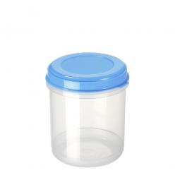 Lebensmitteldose, 1,25 Liter, ØxH 120x155 mm, Polypropylen, Dose glasklar, Deckel blau
