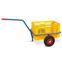 Handwagen mit Kunststoffkorb, H 320 mm, gelb, LxBxH 1250 x 640 x 660 mm, Tragkraft 200 kg
