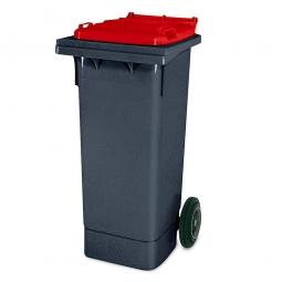 80 Liter MGB, Müllbehälter in anthrazit mit rotem Deckel