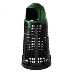Korb-Abfallsammler mit Klapp-Einwurfhaube grün, mit Klemmring für 120 Liter Säcke, Ø380/535 mm, Höhe 1070 mm