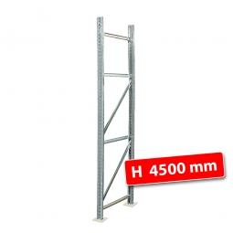 Rahmen für Palettenregale, Stecksystem, zerlegt, TxH 800 x 4500 mm, Profil PN80, Oberfläche glanzverzinkt