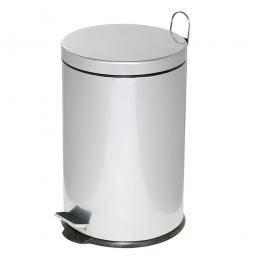 Tret-Abfalleimer, Inhalt 12 Liter, silber, HxØ 395x255 mm, Deckelöffnung mit Pedalmechanik